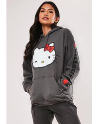 Missguided Hello Kitty Graphic Hoodie - Gray