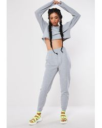 Missguided - Marl Cropped Sweatshirt And Joggers Co Ord Set - Lyst