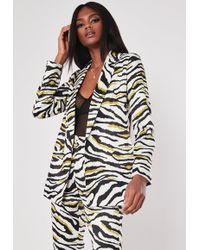 Missguided Lime Zebra Print Tailored Blazer Co Ord - Black