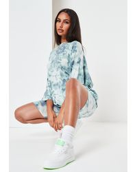 Missguided Green Tie Dye T Shirt And Cycling Shorts Co Ord Set
