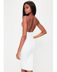 Missguided - White Racer Neck Diamante Details Dress - Lyst