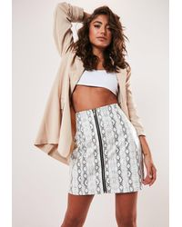 Missguided Petite White Snake Print Faux Leather Zip Front Mini Skirt