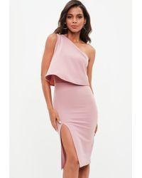 6c61e735c53a Missguided - Rose Pink One Shoulder Crepe Overlay Split Midi Dress - Lyst