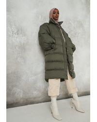 Missguided Khaki Longline Utility Puffer Jacket - Green