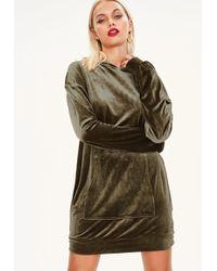 Missguided - Khaki Velour Hooded Jumper Dress - Lyst