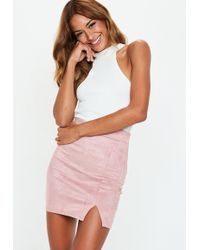 Missguided - Rose Faux Suede Mini Skirt - Lyst