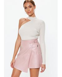 369e7d473b Missguided Petite Exclusive Buckle Zip Faux Leather Mini Skirt Red ...