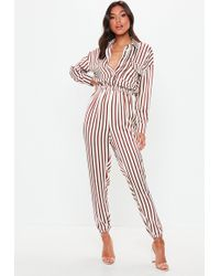 Missguided - White Satin Striped Utility Jumpsuit - Lyst
