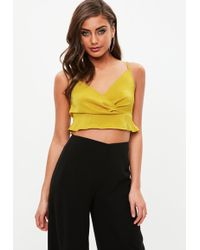 Missguided - Chartreuse Satin Drape Strappy Bralet - Lyst