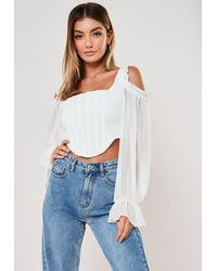 Missguided White Chiffon Cold Shoulder Corset Top
