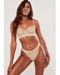 Missguided Lace Balconette Bra - Natural