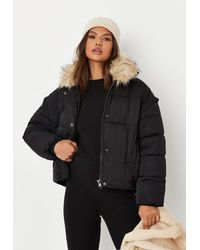 Missguided Black Ultimate Faux Fur Puffer Jacket