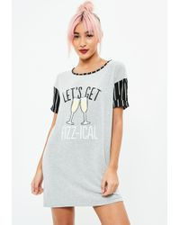Missguided - Grey Let's Get Fizzical Printed Night Tee - Lyst