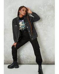 Missguided Tall Black Washed Oversized Denim Jacket