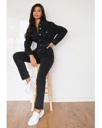 Missguided Cinched Waist Denim Boilersuit - Black