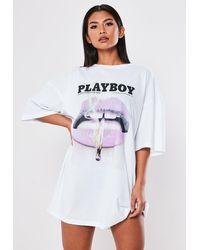 Missguided Playboy X White Lips Extreme Oversized T Shirt Dress