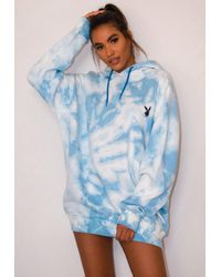 Missguided X Blue Tie Dye Oversized Hoodie Dress