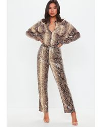 Missguided - Brown Snake Print Shiny Wide Leg Pants - Lyst