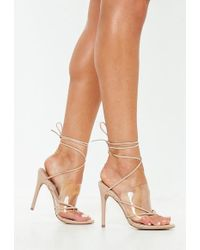 Missguided - Nude Clear Strap Lace Up Heeled Sandals - Lyst
