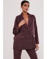 Missguided Purple Co Ord Oversized Masculine Blazer