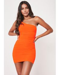 Missguided Petite Neon Orange Slinky One Shoulder Ruched Bodycon Mini Dress