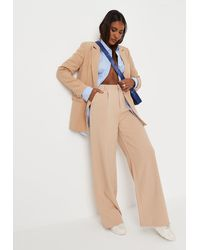 Missguided Tailored Wide Leg Trousers - Natural