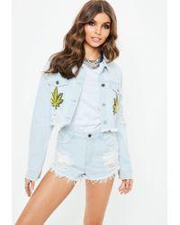 Missguided - Blue Cropped Leaf Embroidered Denim Jacket - Lyst