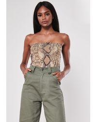 Missguided Nude Snake Print Bandeau Bodysuit - Natural