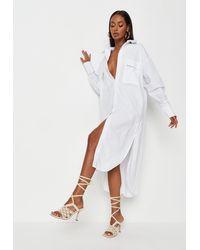 Missguided Oversized Midi Shirt Dress - White