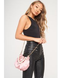 Missguided Satin Pearl Handle Pouch Bag - Multicolor