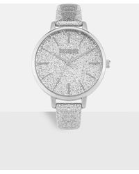 Missguided Silver Look Glitter Detail Watch - Metallic