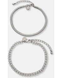 Missguided Look Diamante Chain Anklet 2 Pack - Metallic