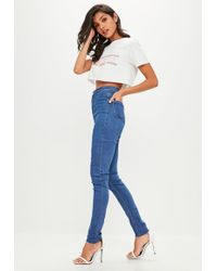 Missguided | Tall Blue Vice High Waisted Skinny Jeans | Lyst