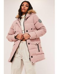 Missguided Pink Long Sporty Puffer Jacket