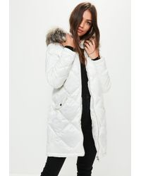Missguided - White Diamond Quilted Padded Jacket - Lyst