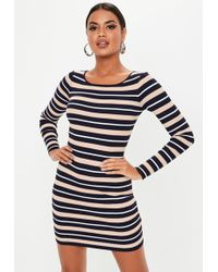 Missguided Navy Stripe Crew Neck Knitted Mini Dress - Blue