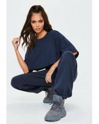 Missguided - Navy 80s Brushback Joggers - Lyst