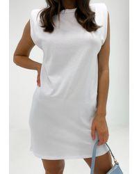 Missguided - White Shoulder Pad Mini Dress - Lyst