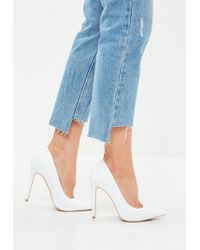 Missguided - White Faux Leather Pointed Court Shoes - Lyst