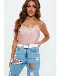Missguided Pink Eyelash Lace Cami Top