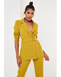 Missguided Mustard Co Ord Belted Blazer - Yellow