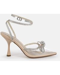 Missguided Clear Diamante Bow Court Heels - White