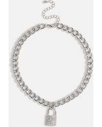 Missguided Silver Look Chunky Chain Padlock Necklace - Metallic