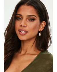 Missguided - Gold 3/4 Hoop Pearl Detail Earrings - Lyst