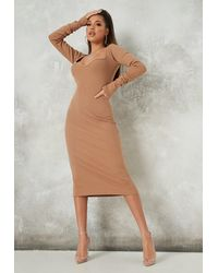 Missguided Rib Midaxi Dress - Natural