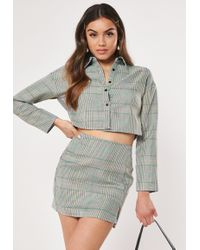 Missguided Grey Check Print Mini Skirt - Gray