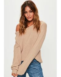 Missguided - Beige Off Shoulder Sweater - Lyst