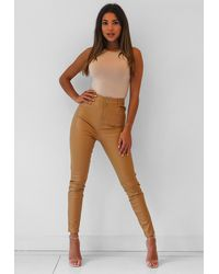 Missguided Tan Faux Leather Croc Skinny Trousers - Brown