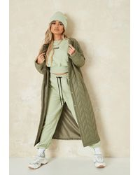 Missguided Chevron Quilted Long Coat - Natural
