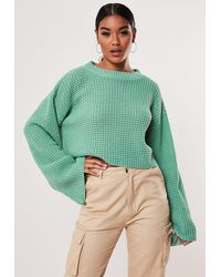 Missguided Green Flare Sleeve Waffle Stitch Knitted Jumper